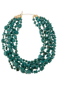 Turquoise, 14k yellow gold plated over zinc... LOVE!