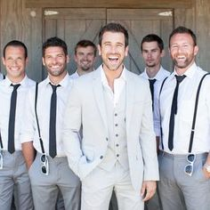 Wedding Suits Beach Wedding Groom and Groomsmen Attire Wedding Suits, Trendy Wedding, Perfect Wedding, Wedding Styles, Wedding Ideas, Wedding Colors, Wedding Pictures, Casual Wedding, Beach Wedding Groomsmen Attire