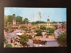 Vintage Disneyland Main Street U.S.A. Postcard - Town Square, Trolley, Street Car, Horse Drawn Carriage, Town Hall by VintageDisneyana on Etsy