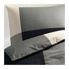 BRUNKRISSLA Duvet cover and pillowcase(s), black, gray - black/gray - Full/Queen (Double/Queen) - IKEA