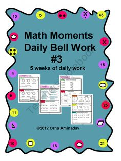 Math Moments Daily Bell Work #3 product from Ornalita-039-s-Way on TeachersNotebook.com
