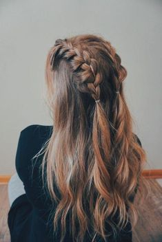 Quick Hairstyles, Pretty Hairstyles, Hairstyle Ideas, Ponytail Hairstyles, Fairy Hairstyles, Flower Hairstyles, Half Braided Hairstyles, Wedding Hairstyles, Long Hairstyles