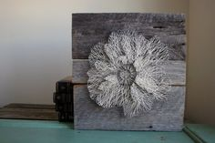 """String Art 24""""x24"""" Floral Anemone Reclaimed Wood Wall Decor on Etsy, $125.00"""