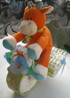 Motorcycle Diaper Cake Giraffe by oohlaladiapercakes on Etsy, $99.00