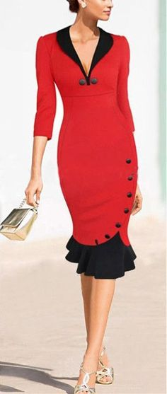Elegant Scoop Neck Cap Sleeve Button Embellished Women's Mermaid Dress