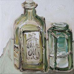 """Olive Oil  and  Sea Salt"" - Original Fine Art for Sale $125- © Kristin Gibson ww.FineArtandFabric.com"