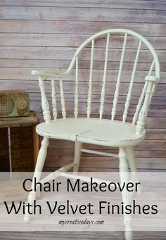 Do you have an old wood chair that needs a makeover? A little paint goes a long way. This Chair Makeover With Velvet Finishes from mycreativedays.com is a great example of how paint can change the entire look of a piece of furniture.