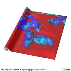 Red Sky Blue Leaves Wrapping paper