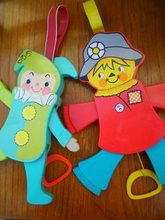 vintage crib toys, Used to attach to the crib rail and babies pull the handle and the parts move.
