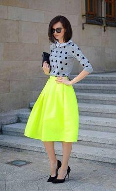 Polka Dot sweater & bright yellow circle midi skirt