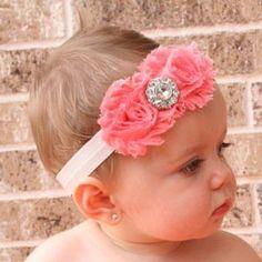 Sweet Rhinestoned Flower Headband For Child