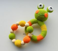 Crochet baby toy SET of 2 Teething baby toy.  by MioLBoutique