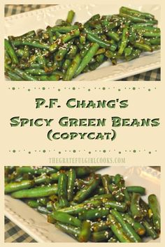 Chang's Spicy Green Beans / The Grateful Girl Cooks! Fresh green beans are cooked in a flavor-filled Asian sauce in this delicious P. Chang's restaurant copycat recipe! via JB @ The Grateful Girl Cooks! Side Dish Recipes, Veggie Recipes, Cooking Recipes, Healthy Recipes, Green Vegetable Recipes, Vegetarian Recipes Green Beans, Veggie Food, Vegan Eggplant Recipes, Healthy Green Beans