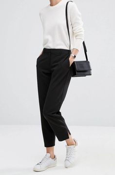 Virtual Styling: Search results for Spring trousers - All Post Casual Work Outfits, Mode Outfits, Simple Outfits, Fashion Outfits, Look Retro, Sneakers Mode, Sneakers Adidas, Outfits Damen, Virtual Fashion