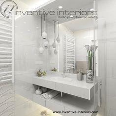 Projekt łazienki Inventive Interiors - białe płytki o strukturze fali w eleganckiej łazience