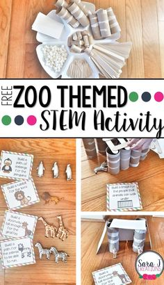 Free STEM challenges with a zoo theme. Fun for preschool or elementary aged kids. Build an iceberg path for penguins, make a habitat for lions...