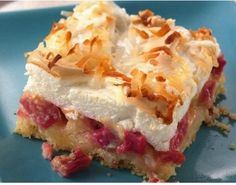 """A press-in-the-pan crust makes this easier-than-pie rhubarb dessert that taste extra-heavenly! """"This is far the best rhubarb recipe that I have ever tried, I have been making it for just over a year n Meringue Desserts, Rhubarb Desserts, Rhubarb Cake, Köstliche Desserts, Dessert Recipes, Ruhbarb Recipes, Rhubarb Crumble, Rhubarb And Custard, Sweets"""