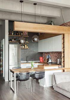 39 Dining Room Design Tips For Small Kitchen - Mia's Brilliant Ideas Apartment Kitchen, Home Decor Kitchen, Kitchen Living, Interior Design Kitchen, New Kitchen, Home Kitchens, Kitchen Ideas, Kitchen Inspiration, Loft Kitchen