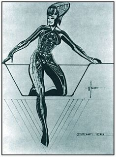 A costume design for 'Yori' by Syd Mead for Tron