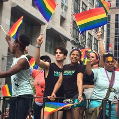 Happy Pride y'all! Darren Criss, Rebecca Jones #HedwigOnBway #NYCPride. 6/28/15
