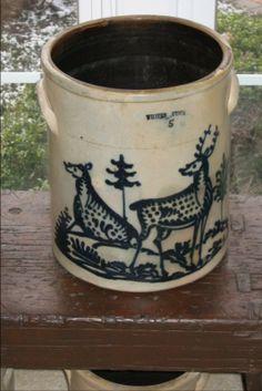 "White's,Utica,NY ,5 gallon ""Double Deer"" Stoneware Crock. (Same decorator as this design on J&E Norton, Bennington,Vt. Stoneware.)"