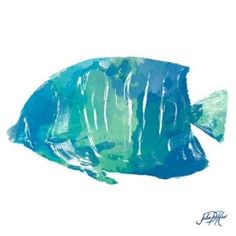 Watercolor Fish in Teal (Blue) IV Poster Print by Julie DeRice (24 x 24)