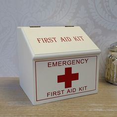 White Wooden First Aid Pharmacy Storage Box Shabby Chic French Vintage Style in Home, Furniture & DIY, Home Decor, Boxes, Jars & Tins Diy First Aid Kit, Emergency First Aid Kit, White Wooden Box, Wooden Boxes, Half Bathroom Remodel, French Vintage, Vintage Style, Make Business, Shabby Chic Furniture