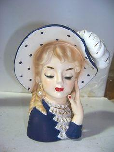 Polka dot hat Lady Head Vase<----i want this shit. Vintage Planters, Vintage Vases, Ceramic Lady Heads, Head Planters, Wall Pockets, Doll Head, Ceramic Vase, Clay Art, Antique Dolls