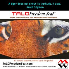 The TALO Freedom Seat is the pocket size hammock used with your walking stick or trekking poles. Take a load off with the TALO Freedom Seat by Maximum Win LLC, Innovations for the Outdoor Enthusiast. Made in the U.S.A. #giftideas #hammockchair #hiking #painrelief #arthritis #kneepain #backpain #injuryrecovery #beprepared #life #tiger #tigereyes #wolesoyinka