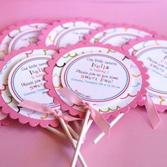 Lollipop Invitations  set of 12 by prettypaperparty on Etsy, $30.00