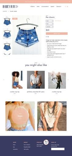 Bailey Ray & Co ecommerce product page design by Megan Gray Design Case, Page Design, Ecommerce Web Design, Crochet Crop Top, Product Page, Website Design Inspiration, Brand Identity Design, Short Tops, Crop Tops