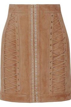 Balmain - Lace-up Suede Mini Skirt - Sand - FR38