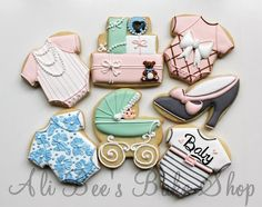 Vintage Baby Shower Cookies ~love the baby peeking out of the stroller.