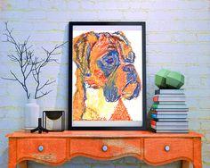 Boxer Dog painting print blue and Orange expressive wall art boxer dog art print; amazing=Amber!