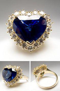 Vintage Saphire + Diamond Heart Ring - Titanic anyone?