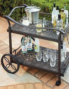 Add a little elegance to your backyard with this gorgeous serving cart for great outdoor parties.