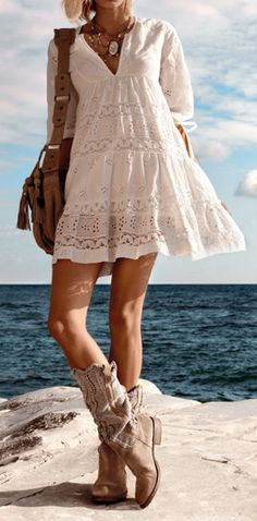 ☯☮ॐ American Hippie Bohemian Style ~ Lace Dress and Tan Boots!
