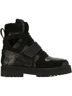 Shop Hood By Air Black from stores. Black calf leather 'Avalanche' boots from Hood By Air. This item is unisex. Hood By Air, Calf Leather, All Black Sneakers, Hiking Boots, Calves, Unisex, Men, Shopping, Shoes