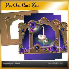 Pearls Swans Pop Out Card on Craftsuprint - View Now!