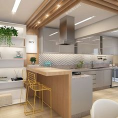 Apartamento alphaville - sp cozinhas modernas por marilia zimmermann arquitetura e interiores moderno Kitchen Bar Design, Home Decor Kitchen, Interior Design Kitchen, Home Kitchens, Kitchen Ideas, Modern Kitchen Interiors, Modern Kitchen Cabinets, Kitchen Seating, Cuisines Design