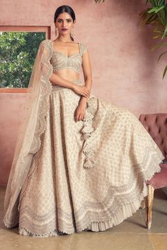 Buy Embroidered Lehenga Set by Anushree Reddy at Aza Fashions - business inspiration Dress Indian Style, Indian Fashion Dresses, Indian Designer Outfits, Designer Dresses, Indian Designers, Designer Bridal Lehenga, Bridal Lehenga Choli, Designer Lehanga, Indian Gowns