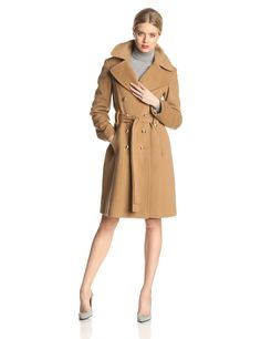 Anne Klein Women's Double-Breasted Wool/Cashmere Coat at Amazon Women's Clothing store: