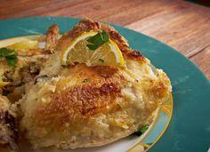 Tepsis csirke görögösen - citromos pácban sütve