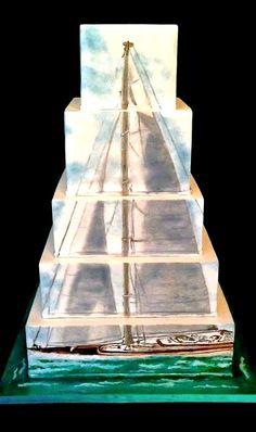 Hand-Painted Sailboat Cake