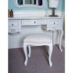 Chic My Room French ivory dressing table stool beige cream stripe bench Seat.