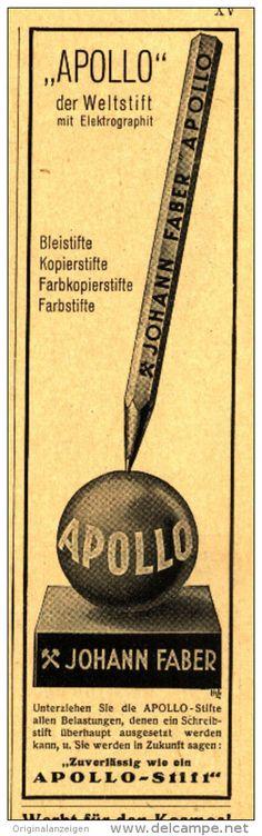 Original-Werbung/Inserat/ Anzeige 1930 - APOLLO STIFT / JOHANN FABER - ca. 170 x 45 mm