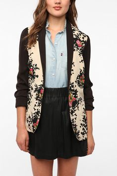 I WANT THIS...Pins and Needles Floral Colorblock Blazer  #UrbanOutfitters