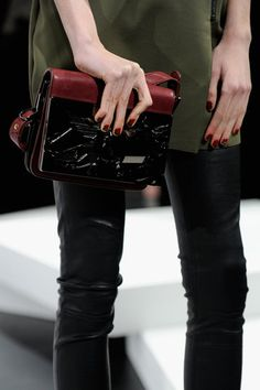 Monika Chiang: The nails at Monika Chiang boasted a bold two-toned red-and-black design.