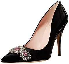 kate spade new york Women�s Larsa Dress Pump, Black Pointed toe pump with jewel detail