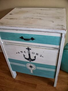 Nautical Nightstand Side Table by RiverSongMtP on Etsy. Lake Decor, Coastal Decor, Paint Furniture, Furniture Makeover, Furniture Decor, Nautical Furniture, Beach Furniture, Nautical Home, Nautical Style